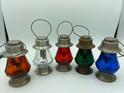 """C.1930 BOND ELECTRIC CORP COLLECTOR SET 5 OF BATTERY SKATERS LANTERNS 4 1 2"""" $470.00"""