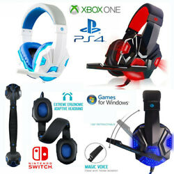 3.5mm LED Gaming Headset with Mic Stereo Surround Headphones for PS4 Xbox PC ☊ $14.78