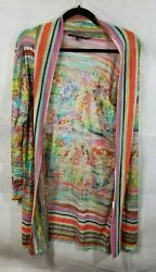 ROBERT KITCHEN Canada XL Multi Color Sheer Floral Stripe Layering Cardigan Top $24.99