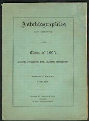 Class of 1893 LIBERAL ARTS Antique BOSTON UNIVERSITY Biography Book QUINCY MA $74.95
