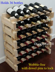 Sturdy 36 Bottles Wine Rack Stackable Storage 6 Tier Shelves Stand quot;Thickquot; Wood $57.95
