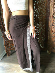 Boho Gypsy Hippy Stonewashed Brown Embroidered Retro 70s Wrap Maxi Skirt S $26.67