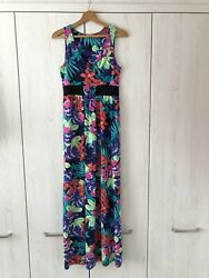 TU Multi Floral Jersey Maxi Dress Empire Style BNWOT Size 10 Beach Holiday $19.63