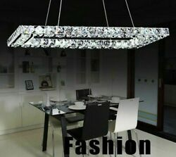 Stainless Crystal Chandelier Lights Modern LED Lampshade With Remote Controllers $205.79