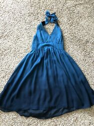 Turquoise Tone Party Dress. Express Size Medium Tie Close At Neck $15.00