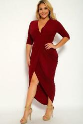 Three Quarter Sleeve Rouched Party Plus Size Dress $32.25
