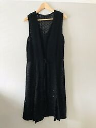 All Saints Size 14 Sleeveless Ties At Waist Sequinned Dress Stunning $50.03