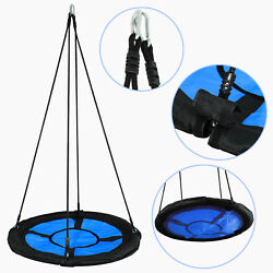 Blue Round PE 40quot; Kids Rope Tire Saucer Oxford Tree Web Net Swing Nest 440lbs $40.99
