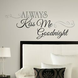 ALWAYS KISS ME GOODNIGHT Quote Peel amp; Stick Wall Decals Decor Bedroom Stickers $14.99