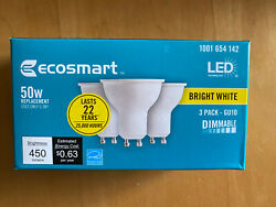 NEW- EcoSmart 50 Watt - 50W Bright White Bulbs - MR16 GU10 - Dimmable - (3 Pack) $6.80