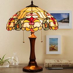 Tiffany Style Victorian 2 Light Table Lamp with 16 Stained Shade Premium Glass $172.99