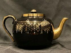 Black Teapot with Metallic Gold Design Made In England $24.99