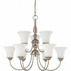 NEW Chandelier NUVO DUPONT 9 Light 2 Tier Brushed Nickel White Glass 60 1823 $99.99