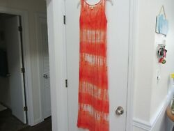Vince Camuto OrangeWhite 100%Cotton Tie Dye Long Sheer Beach Pool Cover Up S M $12.00