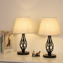 Set of 2 Vintage Nightstand Lamps with Marble Base amp; Linen Fabric Shade $38.99