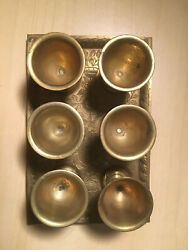 Brass Vintage Serving Tray with 6 Mini Goblets Made in British India $8.99