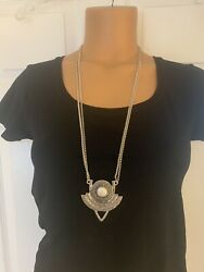 NWT LUCKY BRAND MOTHER OF PEARL MEDALLION PENDANT LONG BOHO SILVERTONE NECKLACE $29.99