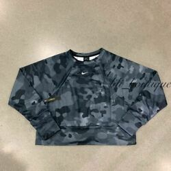 NWT Nike CD5421 010 Women Sportswear Training Top Fleece Camo Black Multi Size M $36.95