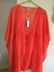 Eco Women Orange Beach Cover Up One Size Fits All $5.99