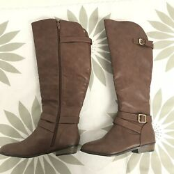 MATERIAL GIRL Womens Knee High Fashion Boots Wide Calf Cognac 5.5 M New $13.99