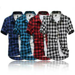 Stylish Men#x27;s Formal Business Dress Shirts Short Sleeve Slim Fit Tops Blouse Tee $13.20