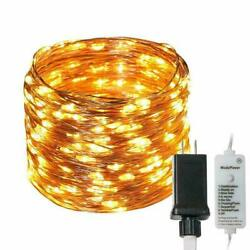 300 LED String Fairy Lights Copper Wire Plug in Dim Powered Waterproof 98 Ft USA $22.89