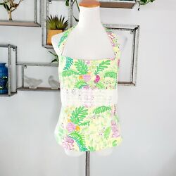 Lilly Pulitzer Halter Top Vintage Elephant Monkey Tropical Floral Lace Size 12 $32.99