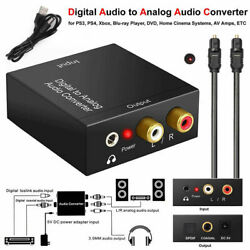 Optical Coaxial Toslink Digital to Analog Audio Converter Adapter RCA 3.5mm L R $10.88