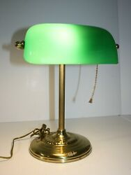 Brass and Green Glass Bankers Desk Lamp $34.95