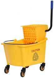 Toolsempire Commercial Mop Bucket Side Press Cleaning Wringer Trolley 35 Quart $94.48