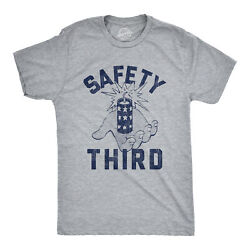 Mens Safety Third Tshirt Funny 4th of July Fireworks Show Summer Graphic Novelty $13.59