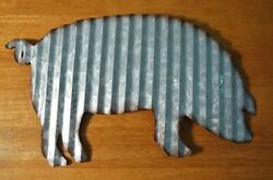 PIG CORRUGATED METAL SCULPTURE SIGN Rustic Country Primitive Kitchen Home Decor $10.95