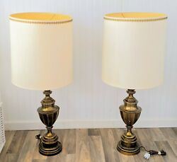 Pair of 1960#x27;s Large brass Stiffel Table Lamps Original Cloth Drum Lamp Shades $175.00