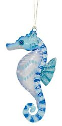 Blue and White Beach Seahorse Christmas Holiday Ornament 6 Inches $18.88