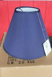 6 Table Lights LAMP SHADES Clip On Bulb 9quot; Cone Navy Blue Crafts Bottle Lamps $29.95