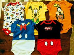Disney Goofy Pluto Donald Duck Mickey Baby 5 Pack Bodysuits 0 3 Months NWT $24.99