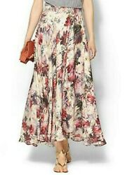 Haute Hippie Silk Floral Faux Wrap Long Maxi Skirt Blush Multi NWT $295 M Medium $69.00