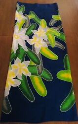 Beach WrapCover UpSarong Blue w YellowGreen Floral Design One Size $18.00