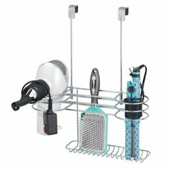 mDesign Metal Over Cabinet Door Hair Care Styling Tool Storage Basket Chrome $16.99