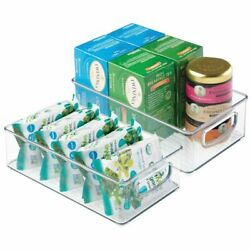 mDesign Plastic Kitchen Food Storage Bin with Handles 6quot; Wide 2 Pack Clear $15.99