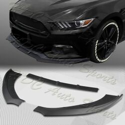 For 2015-2017 Ford Mustang Unpainted BLK Front Bumper Body Kit Spoiler Lip 3PCS $38.99