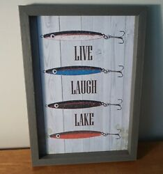 LIVE LAUGH LAKE Antique Lures Bait Sign Fishing Cabin Rustic Lodge Home Decor $10.95