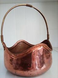 Vtg Copper Bucket w Handle Scalloped Edges 9quot; High Brass Handle French Country $23.50