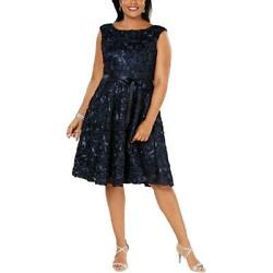 Alex Evenings Womens Navy Embroidered Cocktail Midi Dress Plus 14W BHFO 5733 $32.85