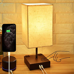 3 Way Touch Control Dimmable Bedside LampHansang Modern Table Lamp with 2 USB $35.63