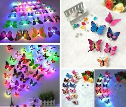 12Pcs Glowing 3D Butterfly LED Wall Stickers Night Light Bedroom Home Decor DIY $8.99