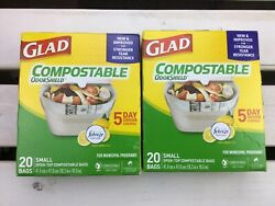 Glad Kitchen Compost Bags 2.5 Gallon Green Trash Bag 20 bags per box $20.00