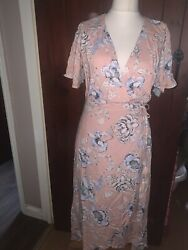 Sass (& Bide) Wrap Over Dress Blush Pink Floral Races Wedding Summer Party BNWT $43.79