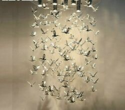 Chandelier Home Lights Bird Flying With Holder Plate Contemporary Stainless Body