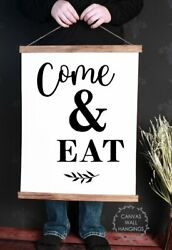Wood Canvas Wall Hanging Kitchen Art Decor Come amp; Eat Dining Room Farmhouse Sign $29.40